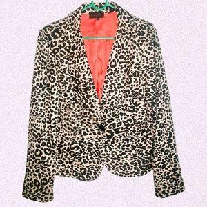Jackets & Blazers - (W) Cheetah blazer jacket size large. Bright